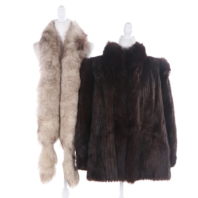 Corded Mink and Fox Fur Jacket and Fox Fur Stole