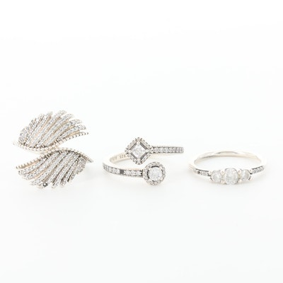 Assortment of Three Pandora Sterling Silver Cubic Zirconia Rings
