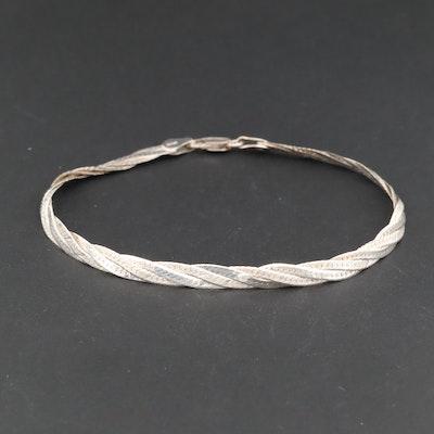 Sterling Silver Twisted Herringbone Bracelet