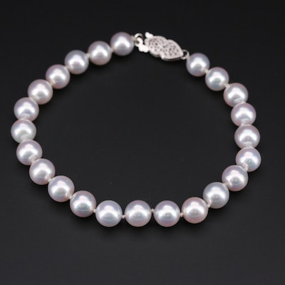 Cultured Pearl Individually Knotted Beaded Bracelet with 14K White Gold Clasp