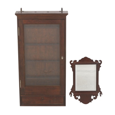 Dark Wood Wall Display Cabinet & Bombay Company Mahogany Mirror