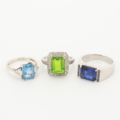 Sterling Silver Rings Featuring Topaz, Sapphire and Quartz Triplet