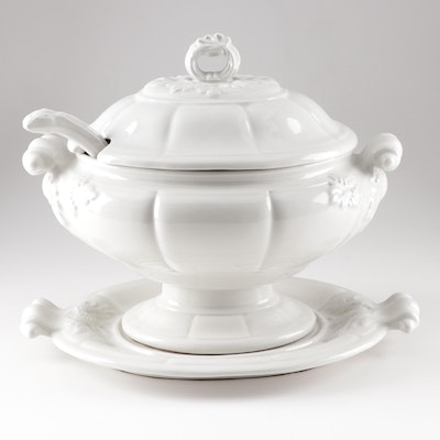 """Red-Cliff """"Grape"""" Ironstone Tureen with Ladle and Underplate"""