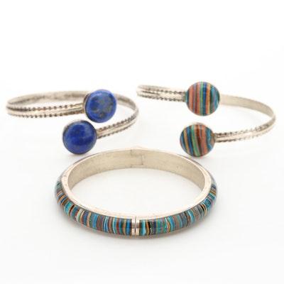 Sterling Silver Bracelet Assortment Featuring Lapis Lazuli