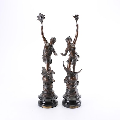 """French Art Nouveau Spelter Figurines """"Le Soir and Le Matin"""""""