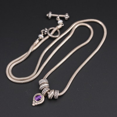 Sterling Silver Amethyst and Cultured Pearl Necklace
