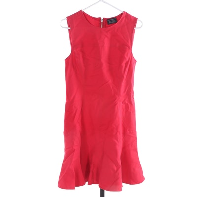 10 Crosby Derek Lam Red Cotton Blend Sleeveless Dress