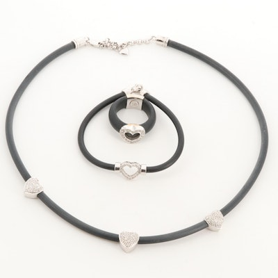 14K White Gold Necklace, Bracelet and 18K Ring with Diamond Heart Accents