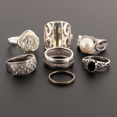 Assortment of Sterling Silver Sapphire, Cubic Zirconia and Cultured Pearl Rings
