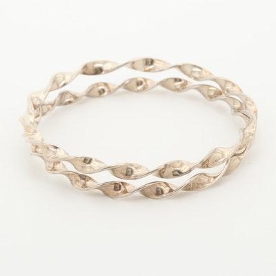 Sterling Silver Twisted Bangle Bracelets