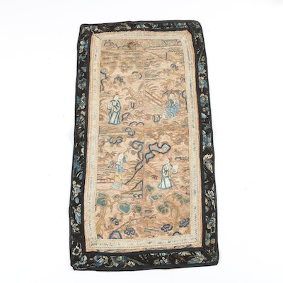 Chinese Silk Figural Embroidered Panel with Forbidden Stitch and Couching