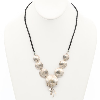 Silver Tone Necklace Featuring Peruvian Brass Coins