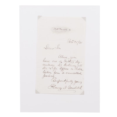 Nathaniel Bowditch American Maritime Navigator Autograph Signature