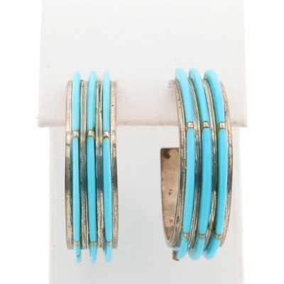Sterling Silver Imitation Turquoise J Hoop Earrings