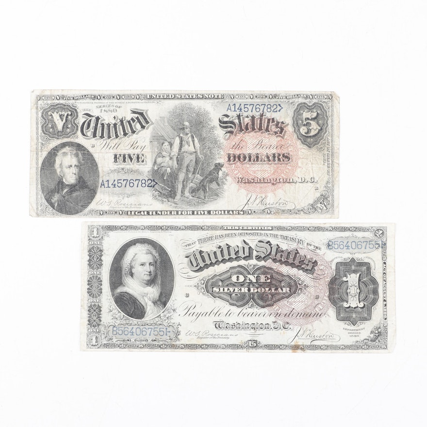 United States Series 1880 $5 Legal Tender Note and 1886 $1 Silver Certificate