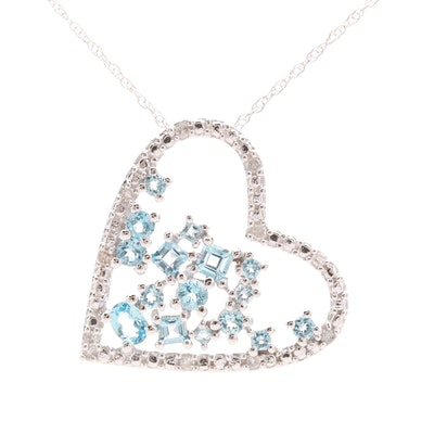 10K White Gold Blue Topaz and Diamond Heart Pendant Necklace
