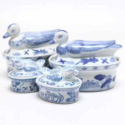 Chinese Stoneware Figural Duck Lidded Tableware, Mid-20th Century