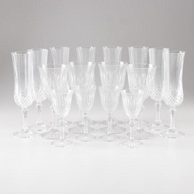 """Glass Stemware including Cristal D'Arques-Durand """"Longchamp"""" Champagne Flutes"""