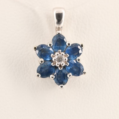 14K White Gold Diamond and Sapphire Pendant with a Floral Motif