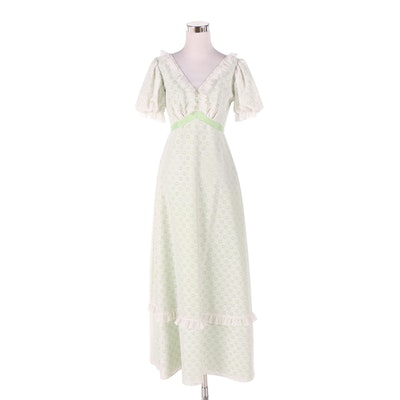 Eyelet Lace Empire Waist Dress with Puff Sleeves, Vintage