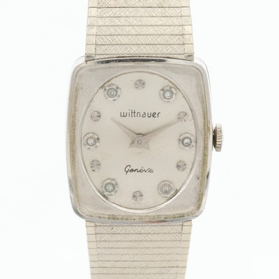 Vintage Wittnauer Stem Wind Wristwatch With Diamond Dial