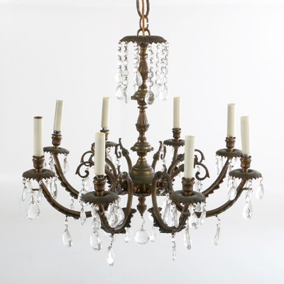 Portuguese Neoclassical Style Chandelier with Crystal Prisms