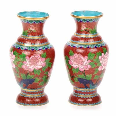 Chinese Cloisonné Floral Vases