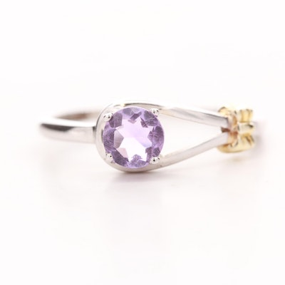 Sterling Silver Amethyst Ring With Gold Wash Accent