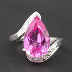 14K White Gold Synthetic Pink Sapphire and Diamond Ring