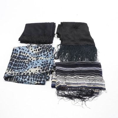 Silk and Cashmere Evening Scarves Including Beaded Fringe