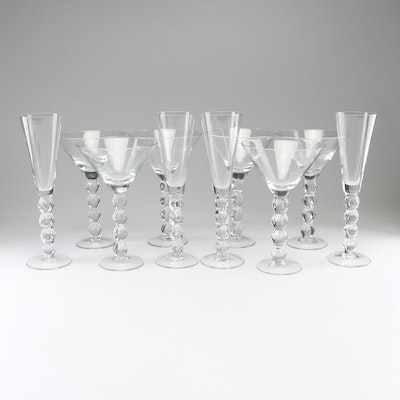 Crystal Champagne Flutes and Martini Glasses with Stacked Ball Stems