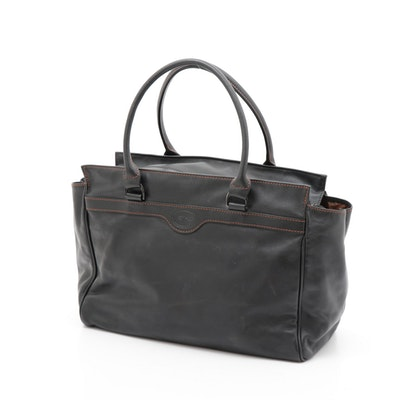Longchamp Black Leather Satchel with Contrast Stitching