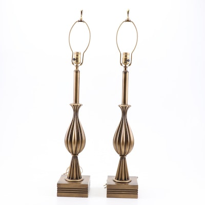 Brass Tone Metal Table Lamps, Vintage