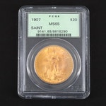 PCGS Graded MS65 1907 $20 Saint Gaudens Gold Coin