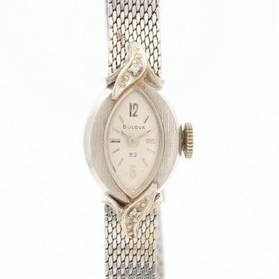 Vintage Bulova 14K Gold And Diamonds Wristwatch, 1972