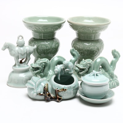 Chinese Celadon Ceramic Candle Holders, Sugar Bowl, and More