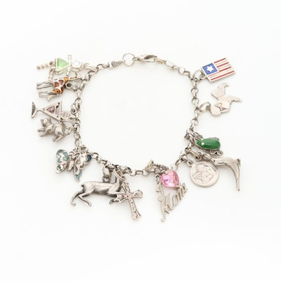 Sterling Silver Cubic Zirconia and Enamel Charm Bracelet