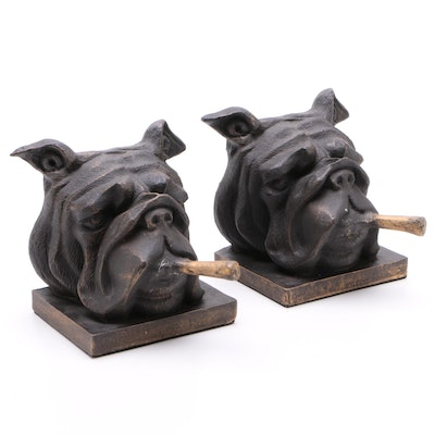 English Bulldogs Smoking Cigars Bookends