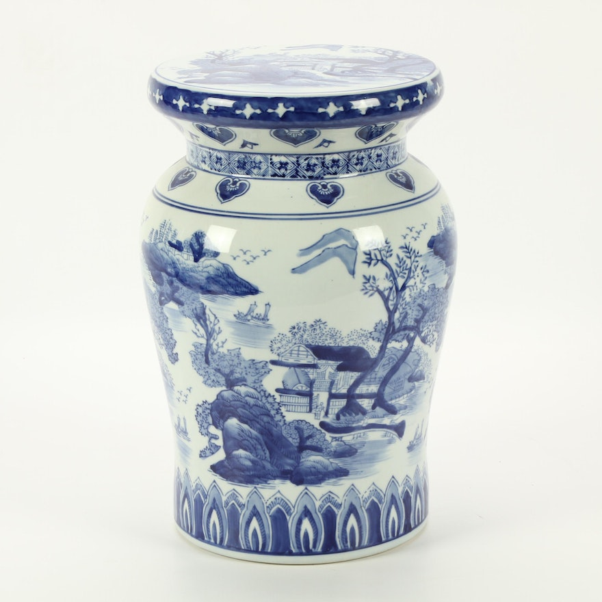 Chinese Porcelain Blue and White Garden Stand, Mid-20th Century
