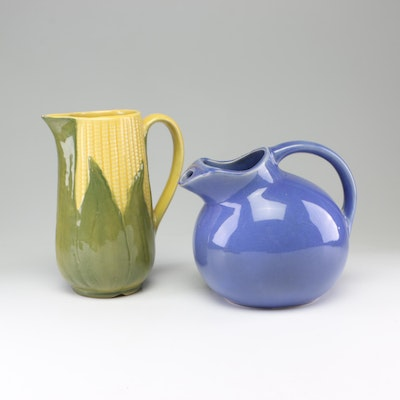 "Shawnee ""Corn Queen"" Art Pottery Pitcher and Other Ball Pitcher"
