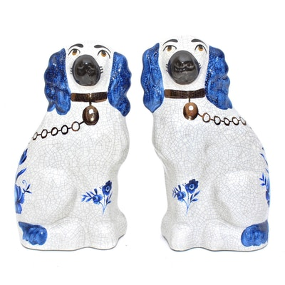 Staffordshire Porcelain Cavalier King Charles Spaniel Figurines, Late 20th C