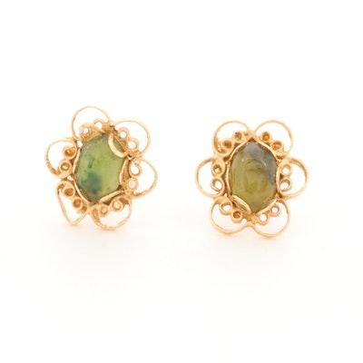 14K Yellow Gold Nephrite Earrings