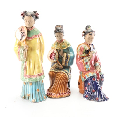 Chinese Hand-Painted Earthenware Figurines of Women