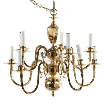 Brass Ten Light Tiered Chandelier, Contemporary