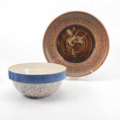 Thrown Stoneware Platter and Spongeware Mixing Bowl