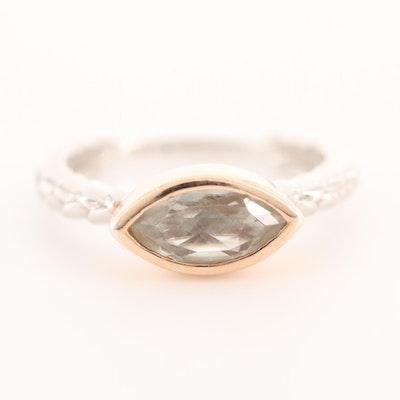 Sterling Silver Prasiolite Navette Ring