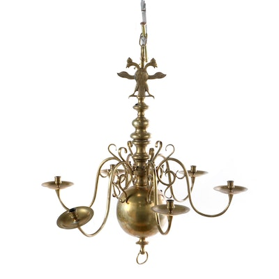 Continental Dutch Baroque Brass Chandelier with Double-Headed Eagle Finial