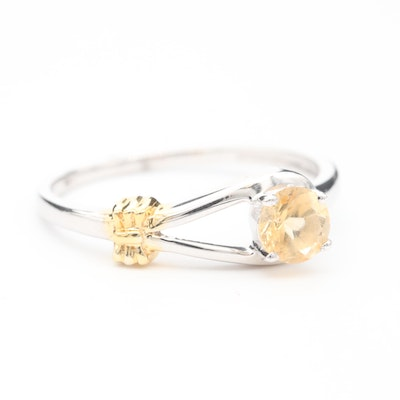Sterling Silver Citrine Ring With Gold Wash Accent