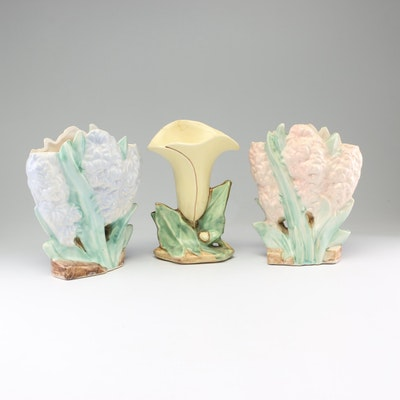 "McCoy ""Tulip"" and ""Hyacinth"" Earthenware Vases, Early to Mid 20th Century"