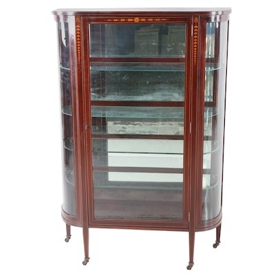 Federal Style Mahogany China Cabinet with Satinwood Marquetry, Circa 1940